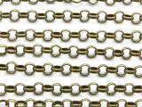 "Antique Brass Plated Iron Rolo Link Chain 6mm - 36"" (CHAIN102)"