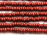 Red Irregular Rondelle Glass Beads 6-8mm (JV1217)