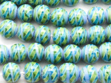 Blue & Green Swirled Round Glass Beads 12mm (JV1222)