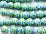 Blue & Green Swirled Round Glass Beads 12mm (JV1222)
