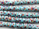 Light Blue w/Dots Rondelle Glass Beads 9mm (JV1228)