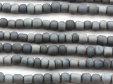 Blue Gray Irregular Cylinder Glass Beads 5-7mm (JV1238)