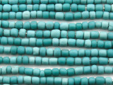 Aqua Teal Irregular Cylinder Glass Beads 5-7mm (JV1242)