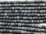 Dark Navy Blue Irregular Cylinder Glass Beads 5-7mm (JV1243)