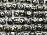 Black w/Chain Design Round Glass Beads 11-12mm (JV1247)