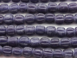 Purple Fluted Glass Beads 9-11mm (JV1250)