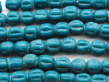 Teal Blue Fluted Glass Beads 9-11mm (JV1252)