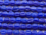 Bright Cobalt Blue Fluted Glass Beads 8-10mm (JV1253)