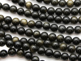 Black Tiger Eye Round Gemstone Beads 8mm (GS4619)