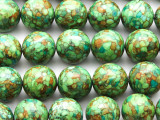 Green Mosaic Magnesite Round Gemstone Beads 18mm (GS4627)