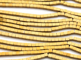Gold Electroplated Hematite Cube Gemstone Beads 3mm (GS4637)