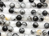 Black Rutilated Quartz Gemstone Beads 8mm (GS4645)