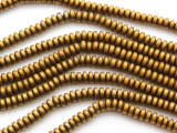 Brass Electroplated Hematite Saucer Gemstone Beads 5mm (GS4651)