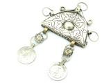 Afghan Tribal Silver Pendant - Amulet 116mm (AF776)