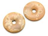 Matte Tan Donut Ceramic Earring Pair 41mm - Peru (CER165)