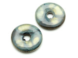Blue & Yellow Donut Ceramic Pendants 26mm Peru - Set of 2 (CER167)