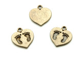 Brass Heart w/Footprints - Pewter Pendant 15mm (PW1192)