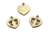 Brass Heart w/Footprints - Pewter Pendant 15mm (PW1192)