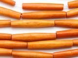 Dark Orange Tube Bone Beads 35mm (B1354)