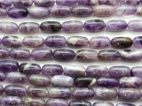 Chevron Amethyst Barrel Gemstone Beads 12mm (GS4676)