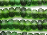 Green Rondelle Recycled Glass Beads 9-16mm - Indonesia (RG642)