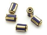 Lapis Lazuli & Brass Tibetan Bead 12mm (TB578)