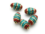 Turquoise & Coral Tibetan Bead 15mm (TB582)