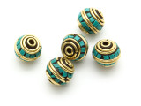 Turquoise & Brass Tibetan Bead 11mm (TB584)