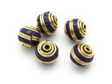 Lapis Lazuli & Brass Tibetan Bead 11mm (TB585)