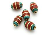 Turquoise, Coral & Brass Tibetan Bead 15mm (TB587)