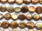 Light Copper Coin Pearl Beads 14-16mm (PRL214)