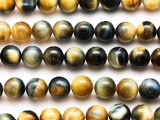 Blue & Yellow Tiger Eye Round Gemstone Beads 10mm (GS4743)