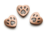 Copper Pewter Bead - Paw Print Heart 12mm (PB850)