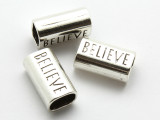 Pewter Bead - 'Believe' Tube 23mm (PB865)