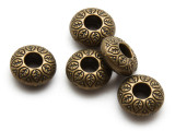 Brass Pewter Bead - Leaf Ring 14mm (PB867)