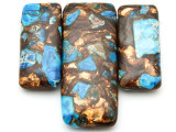 Bronzite & Blue Mosaic Jasper Gemstone Pendant - Set of 3 (GSP2387)