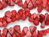 Red Bamboo Coral Teardrop Beads 10-18mm (CO569)