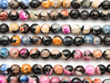 Black & Pastel Agate Faceted Round Gemstone Beads 6mm (GS4778)