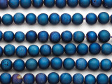 Blue Electroplated Druzy Agate Round Gemstone Beads 8mm (GS4796)