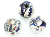 Blue, White & Black Flowers Round Glass Bead 16-20mm (CB547)