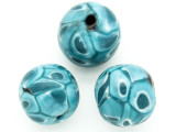 Turquoise Blue Dots Round Glass Bead 22-24mm (CB550)
