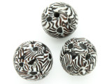 Black, White & Brown Flowers Round Glass Bead 20-24mm (CB552)