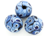Blue & Black Dots Round Glass Bead 22-24mm (CB553)