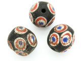 Black, White, Red & Blue 'Eye' Round Glass Bead 17-20mm (CB554)