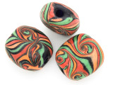 Green, Orange, Black & Red Swirl Tabular Glass Bead 30-32mm (CB557)