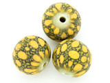 Yellow & Dark Green Dots Round Glass Bead 20-22mm (CB558)