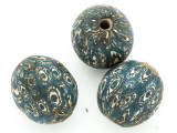 Blue w/White Spots Round Glass Bead 25-27mm (CB559)