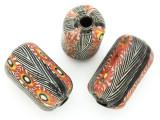 Zebra Stripe w/Red Flowers Cylinder Glass Bead 26-28mm (CB563)