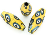 Yellow, Blue & White 'Eye' Ellipsoid Glass Bead 36-40mm (CB566)
