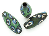 Green, Blue & White 'Eye' Ellipsoid Glass Bead 36-40mm (CB567)